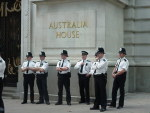 Picture - WEF solidarity - Australia House guarded by police