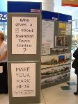 """Who gives a [tick] about Swindon Town Centre?"" - Swindon Civic Trust's stall"