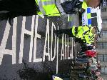 trouble ahead...police halt the march