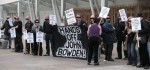 Supporters of John Bowden demonstrate outside the Scottish Parliament