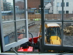 View of diggers outside the window