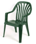 A green plastic garden chair