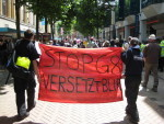 banner in solidarity with Versetzt at Day of Action in Croydon