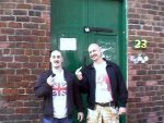 White poses outside 'The Common Place' with another moron 'Wigan Mike'