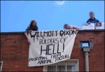 Activists on the roof of Wilmott Dixon in Colehill