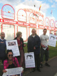 Greyhound Action supporters demonstrating outside the stadium before it closed