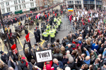 Margaret Thatcher's coffin passes protestors at Ludgate Circus