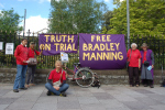 late afternoon: back in the city centre we focus on bradley manning