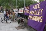 New banners up at Cardiff Food Not Bombs weekly hot meal for the masses