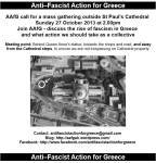Antifascist Action for Greece mass gathering 27/10/13 St Paul's Cathedral