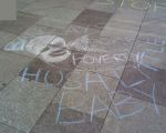 chalk messages spotted outside