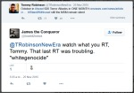Tommy Advised To Stop Tweeting White Supremacist Tweets