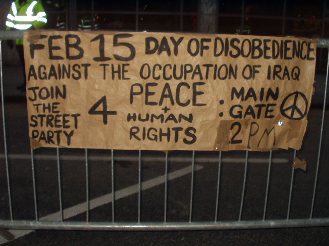 Sign in Queen Street announces day of civil disobedience.