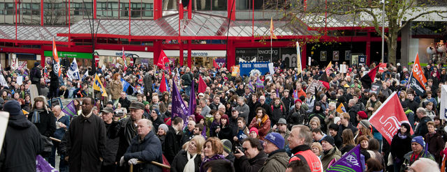 Roughly 6,000 people gathered in barkers pool to protest the pension reforms